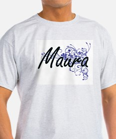 Maura Artistic Name Design with Flowers T-Shirt