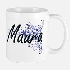 Maura Artistic Name Design with Flowers Mugs