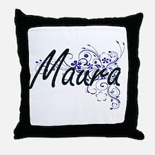 Maura Artistic Name Design with Flowe Throw Pillow