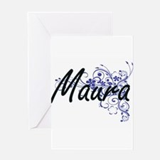 Maura Artistic Name Design with Flo Greeting Cards