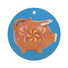 Vintage Toy Pig Art Ornament (Round)