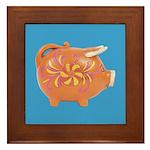 Vintage Toy Pig Art Framed Tile