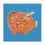 Vintage Toy Pig Art Tile Drink Coaster