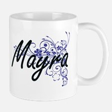 Mayra Artistic Name Design with Flowers Mugs