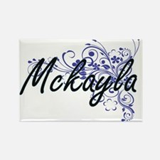 Mckayla Artistic Name Design with Flowers Magnets