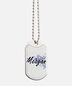 Meagan Artistic Name Design with Flowers Dog Tags