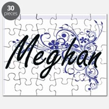 Meghan Artistic Name Design with Flowers Puzzle