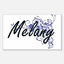 Melany Artistic Name Design with Flowers Decal