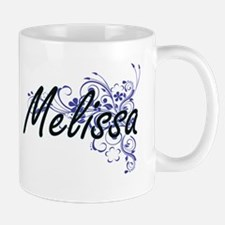 Melissa Artistic Name Design with Flowers Mugs