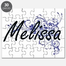 Melissa Artistic Name Design with Flowers Puzzle