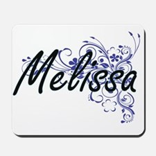 Melissa Artistic Name Design with Flower Mousepad