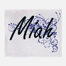 Miah Artistic Name Design with Flowe Throw Blanket