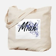 Miah Artistic Name Design with Flowers Tote Bag