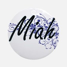 Miah Artistic Name Design with Flow Round Ornament