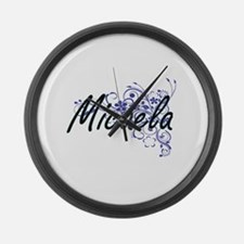Micaela Artistic Name Design with Large Wall Clock