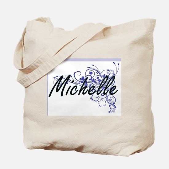 Michelle Artistic Name Design with Flower Tote Bag