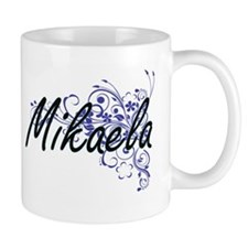 Mikaela Artistic Name Design with Flowers Mugs
