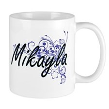 Mikayla Artistic Name Design with Flowers Mugs