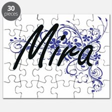 Mira Artistic Name Design with Flowers Puzzle