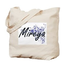 Mireya Artistic Name Design with Flowers Tote Bag
