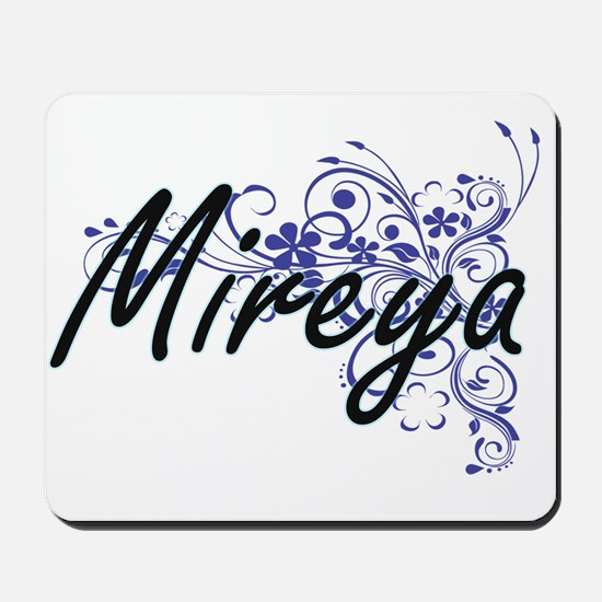 Mireya Artistic Name Design with Flowers Mousepad