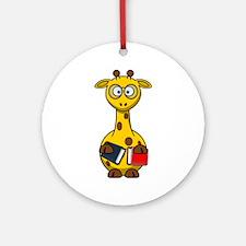 Bookworm Nerd Giraffe Round Ornament