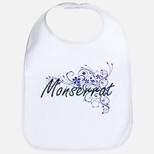 Monserrat Artistic Name Design with Flowers Bib