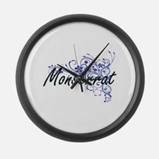 Monserrat Artistic Name Design wi Large Wall Clock
