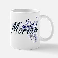 Moriah Artistic Name Design with Flowers Mugs