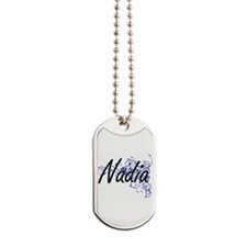 Nadia Artistic Name Design with Flowers Dog Tags