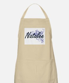 Natalee Artistic Name Design with Flowers Apron