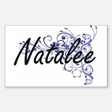 Natalee Artistic Name Design with Flowers Decal