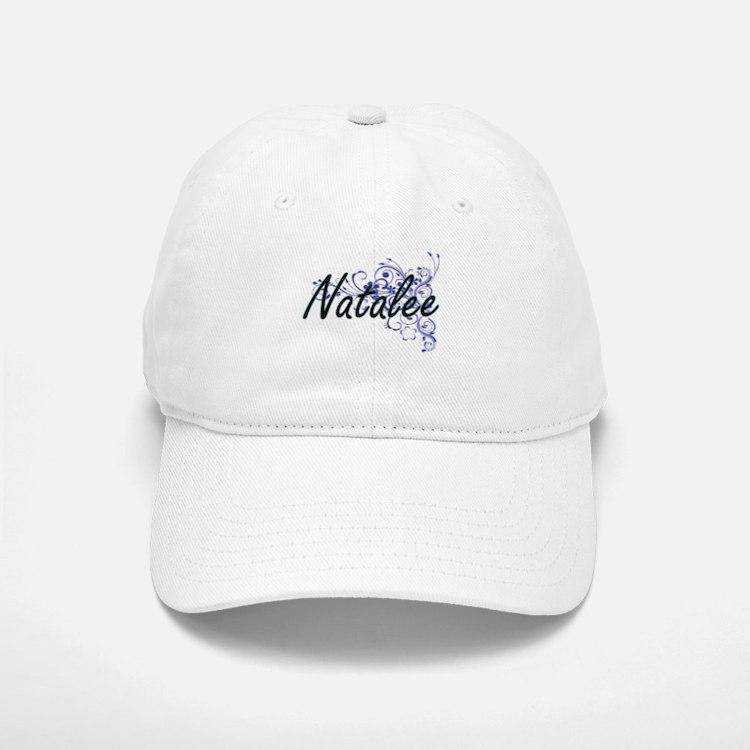 Natalee Artistic Name Design with Flowers Baseball Baseball Cap
