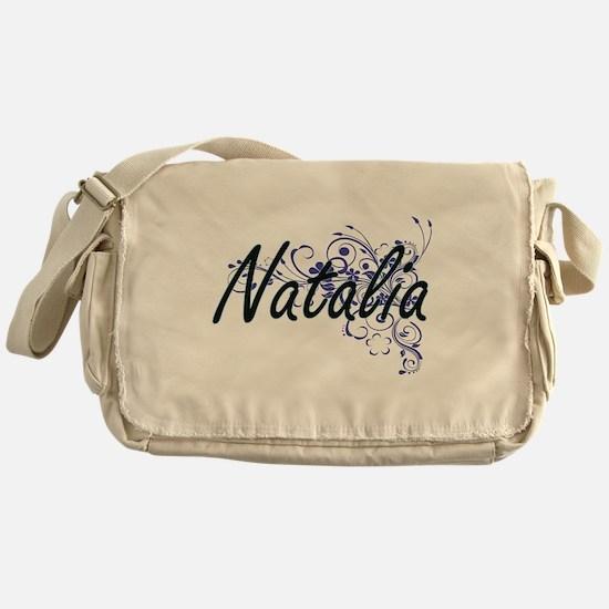 Natalia Artistic Name Design with Fl Messenger Bag