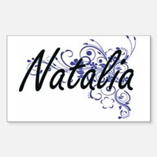 Natalia Artistic Name Design with Flowers Decal