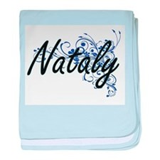 Nataly Artistic Name Design with Flow baby blanket
