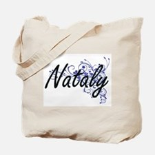 Nataly Artistic Name Design with Flowers Tote Bag