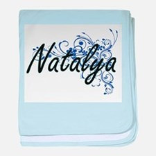 Natalya Artistic Name Design with Flo baby blanket