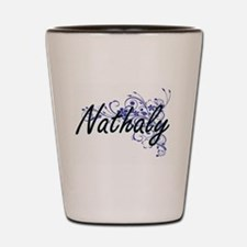 Nathaly Artistic Name Design with Flowe Shot Glass