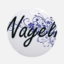 Nayeli Artistic Name Design with Fl Round Ornament