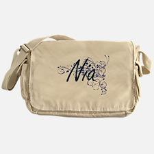 Nia Artistic Name Design with Flower Messenger Bag