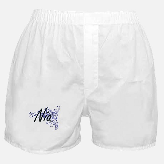 Nia Artistic Name Design with Flowers Boxer Shorts