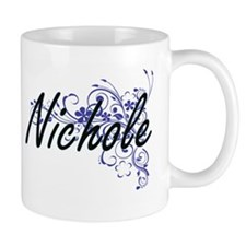 Nichole Artistic Name Design with Flowers Mugs