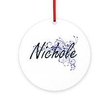 Nichole Artistic Name Design with F Round Ornament