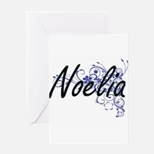 Noelia Artistic Name Design with Fl Greeting Cards