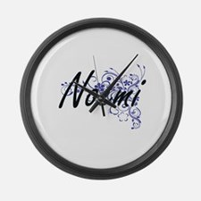 Noemi Artistic Name Design with F Large Wall Clock