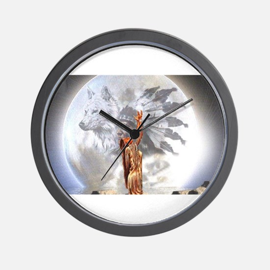 The Moon Vision Chief Wolf Indian Girl Wall Clock