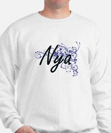 Nya Artistic Name Design with Flowers Sweater