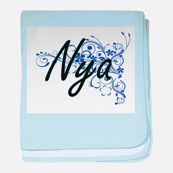 Nya Artistic Name Design with Flowers baby blanket