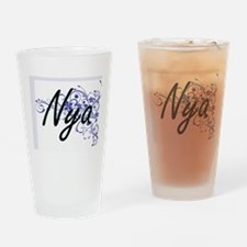 Nya Artistic Name Design with Flowe Drinking Glass